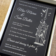 Clear Acrylic laser engraved Wedding Invitation - Birdcage shown in Ivory box