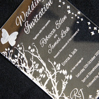 Clear Acrylic laser engraved Wedding Invitation - Butterflies