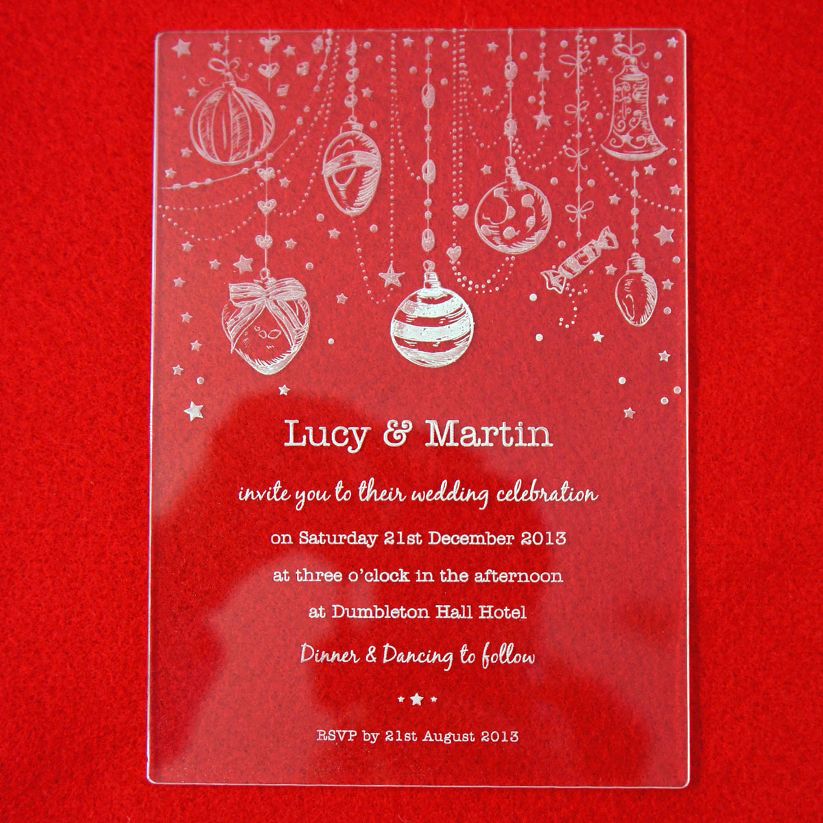 Camdeco: Acrylic Wedding Invitation - Christmas