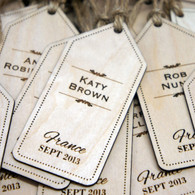 Wooden Wedding Place Names - Luggage Tags