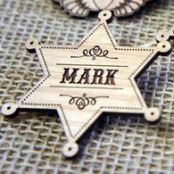Personalised engraved Wooden Wedding Place Names - Sheriffs Badge