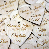 Personalised Wooden Wedding Place Names - Heart Name Tags