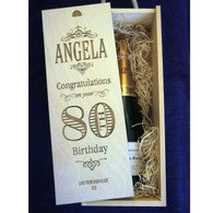 Wooden personalised, engraved Birthday winebox