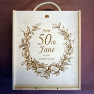 Wooden personalised, engraved Birthday triple winebox