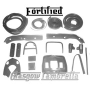 FORTIFIED Lambretta Series 3 Li 125/150 GREY RUBBERS & BEADINGS SET inc Grips/Pedals