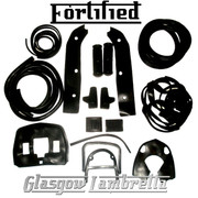FORTIFIED Lambretta s3 SX / TV BLACK RUBBERS & BEADINGS SET inc Grips / Pedals