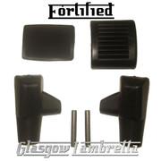 FORTIFIED Lambretta Li/SX/TV/GP BLACK BRAKE, KICKSTART PEDAL & STAND FEET RUBBERS