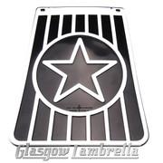 Lambretta 60s Style Italian BLACK & WHITE STAR LONG MUDFLAP Li/TV/SX/GP etc