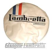 Lambretta Innocenti CREAM, RED & BLUE VINYL SPARE WHEEL COVER 350 x 10 Li/TV/SX/GP