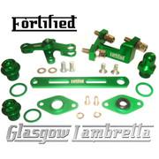 FORTIFIED Lambretta CUSTOM GEAR LINKAGE, PLUGS & SEALS SET GREEN CNC ALLOY