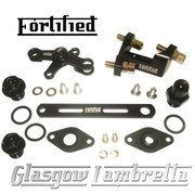 FORTIFIED Lambretta CUSTOM GEAR LINKAGE, PLUGS & SEALS SET BLACK CNC ALLOY