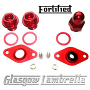 FORTIFIED Lambretta CUSTOM OIL PLUG / MAG HOUSING SEAL SET #2 DEEP RED CNC ALLOY