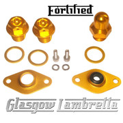 FORTIFIED Lambretta CUSTOM OIL PLUG / MAG HOUSING SEAL SET #2 GOLD CNC ALLOY