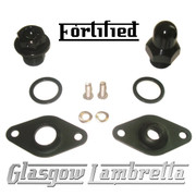 FORTIFIED Lambretta CUSTOM OIL PLUG / MAG HOUSING SEAL KIT #1 BLACK CNC ALLOY