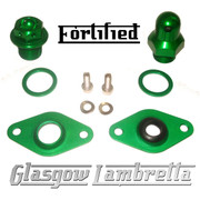 FORTIFIED Lambretta CUSTOM OIL PLUG / MAG HOUSING SEAL KIT #1 GREEN CNC ALLOY