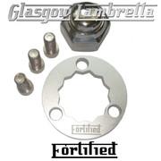 FORTIFIED Lambretta CUSTOM REAR HUB LOCKING RING KIT SILVER CNC ALLOY + CHROME NUT