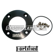FORTIFIED Lambretta CUSTOM DRIVE SIDE OIL PLATE KIT BLACK CNC ALLOY + O RING