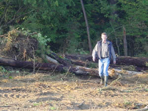 Preparing the field in October 2003