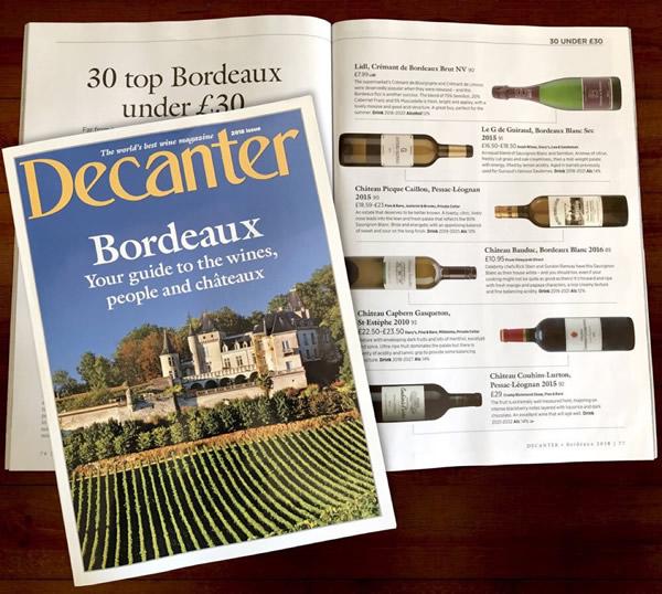 Decanter magazine - 30 top Bordeaux under £30