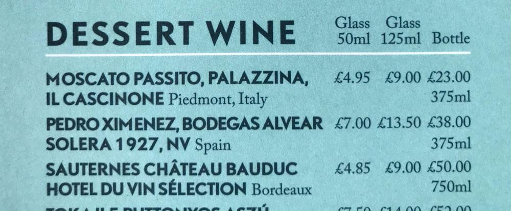 Hotel du Vin - Sweet wine
