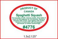 Spaghetti Squash PLU #4776 Label - Product of Canada