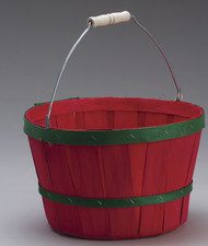 One Peck Basket Colored Bands w/handle