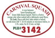 Carnival Squash PLU #3142 Label