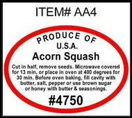 Acorn Squash PLU #4750 Label