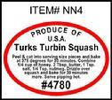 Turks Turban Squash PLU #4780 Label