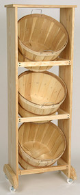 Wood Display Rack w/3 Bushel baskets