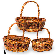 Set of 3 Oval Fancy Willow Baskets