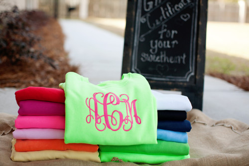 Sweatshirt with Large Embroidered Monogram