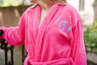 Pink Raspberry Robe with Monogram Script in Blue Fringe