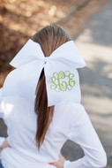 White Hair Bow in Interlocking in Peapod Green