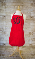 Red apron with Full Front Monogram  Interlocking in Black