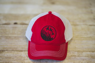 Red Cap with mesh back with Ducks in Flight Design sewn in Black