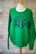 Kelly Green Sweatshirt with Navy Interlocking Monogram