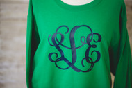 Kelly Green Sweatshirt with Navy Interlocking Monogram in Navy Vinyl