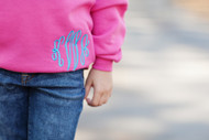 Hot Pink Sweatshirt with Monogram Script in Blue Fringe