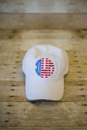 White Ladies Cap with American Flag Monogram