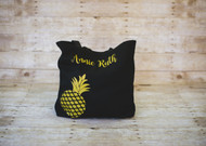 Black Tote Bag with Gold Glitter Name and Pineapple