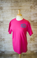 Hot Pink Monogrammed Tee with Interlocking Font