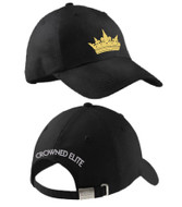"Crowned Elite Ladies Cap Gold Crown Embroidered on Front and ""CROWNED ELITE"" on the back."