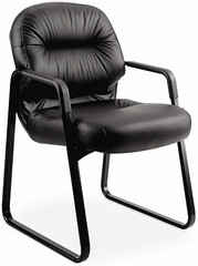 HON Leather Pillow Soft Sled Base Guest Chair [2093SR] -1