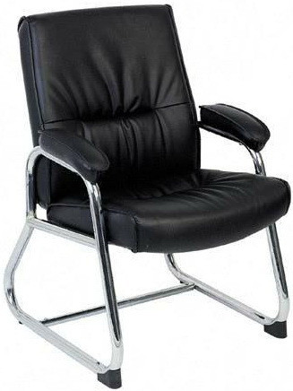 Lorell Chrome Sled Base Leather Guest Chair [60504]  1