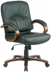 Lorell Woodbridge Series Leather Desk Chair [60336] -1