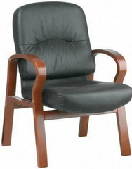 Lorell Woodbridge Leather Guest Chair [60337] -1