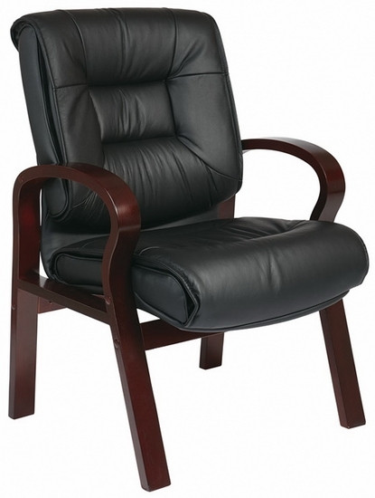 Mahogany Finish Leather Guest Chair [8505]  1