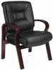 Mahogany Finish Leather Guest Chair [8505] -1