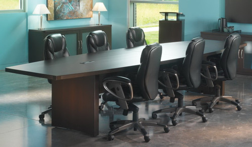 Mayline Aberdeen Boat Shaped Conference Table [ACTB12] -Mocha
